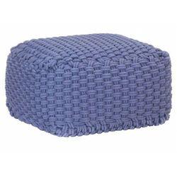 Elior Niebieska kwadratowa pufa bawełniana ręcznie pleciona - momo