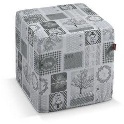 Dekoria Pufa kostka twarda, szaro-beżowe motywy świąteczne, 40 × 40 × 40 cm, Wyprzedaż do -50%, kolor beżowy