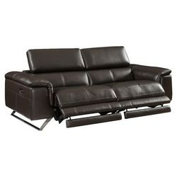 Sofa 3-osobowa ze skóry z elektryczną funkcją relaksu z zagłówkami BREYT - Brązowa, kolor brązowy