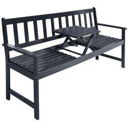 vidaXL Ławka ogrodowa z wyciąganym stolikiem drewna akacjowego (8718475502555)