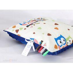 MAMO-TATO Poduszka Minky dwustronna 40x40 Sówki kremowe D / modrak