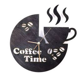 Congee.pl Drewniany zegar na ścianę coffee time ze złotymi wskazówkami