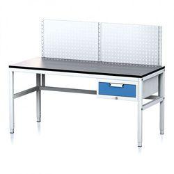 B2b partner Stół warsztatowy mechanic ii z panelem perforowanym, 1600 x 700 x 745-985 mm, 1 kontener szufladowy, szary/niebieski