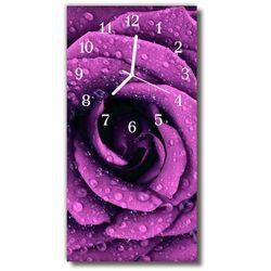 Zegar Szklany Pionowy Kwiaty Róża krople purpurowy