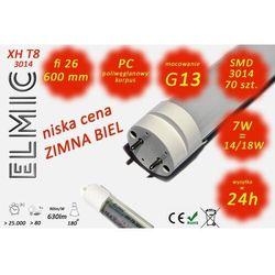 Świetlówka liniowa LED SMD 70 szt. XHT8-3014 fi 26x600 7W 230V 180st. 6500K Zimna Biel ELMIC mleczna - oferta [057fdfae2fe356f7]