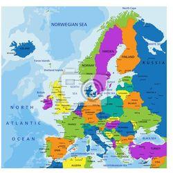 Fototapeta Kolorowe Europa mapa polityczna z wyraźnie oznakowanych, oddzielnych warstwach. Ilustracji wektorowych., marki Redro do zakupu w REDRO