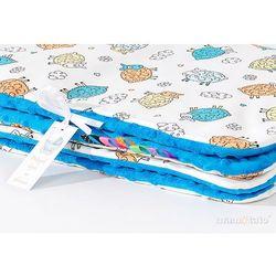 komplet kocyk minky 75x100 + poduszka szalone owieczki kremowe / niebieski marki Mamo-tato