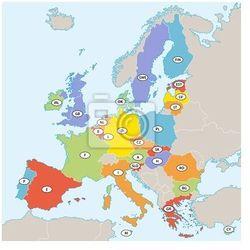 Obraz Mapa polityczna Unii Europejskiej z kodami państwowych. - sprawdź w REDRO