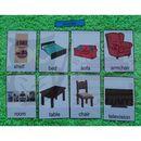 Pokój dzienny / akcesoria karty edukacyjne- wersja w j. angielskim marki Bystra sowa