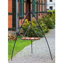 Grill na trójnogu z rusztem ze stali czarnej 200 cm / 60 cm średnica + kołowrotek marki Korono