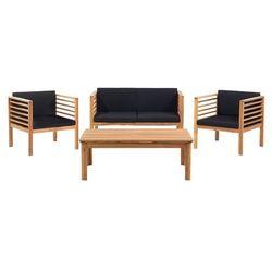 Meble ogrodowe brązowe - ogród - stół + 2 krzesła + ławka - PACIFIC