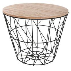 Funkcjonalny, praktyczny stolik kawowy, średnica 38 cm, okrągły blat, ażurowa konstrukcja, kolor stelaża czarny, nowoczesny design marki Atmosphera créateur d'intérieur