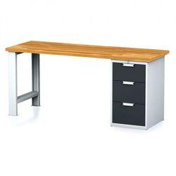 Stół warsztatowy mechanic, 2000x700x880 mm, 1x szufladowy kontener, 3 szuflady, szary/antracyt marki B2b partner