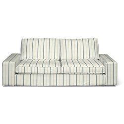 pokrowiec na sofę kivik 3-osobową, rozkładaną, ecru tło, niebieskie paski, sofa kivik 3-osobowa rozkładana, avinon marki Dekoria