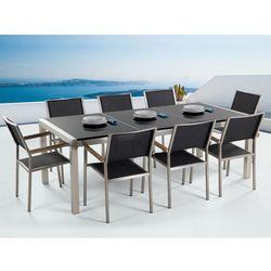 Meble ogrodowe - stół granitowy czarny polerowany 220 cm z 8 czarnymi krzesłami - grosseto, marki Beliani