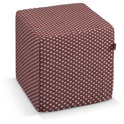 Dekoria Pufa kostka, białe serduszka na bordowym tle, 40 × 40 × 40 cm, Christmas, kolor czerwony