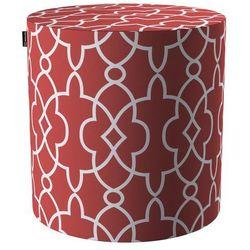 Dekoria Puf Barrel, czerwony w biały marokański wzór, ø40, wys. 40 cm, Gardenia