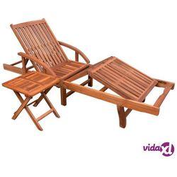 Vidaxl leżak ze stolikiem, lite drewno akacjowe (8718475501992)