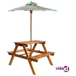 Vidaxl dziecięcy stolik piknikowy z parasolem 79x90x60 cm, lita akacja (8718475613664)