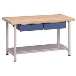 Stół warsztatowy, stabilny, 2 szuflady, 1 półka, szer. 1500 mm, blat z litego dr marki Anke werkbänke - a