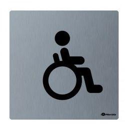 Piktogram - toaleta dla niepełnosprawnych, wym. 100 x 100 x 2 mm, STAL MATOWA, GSM009