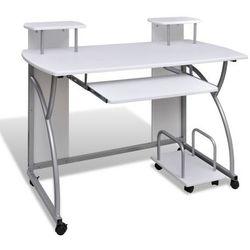 vidaXL Biurko komputerowe, na kółkach, białe