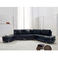 Sofa czarna skórzana COPENHAGEN