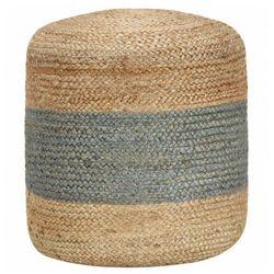 Okrągła pufa pleciona kremowa - Azalia 3X, kolor beżowy
