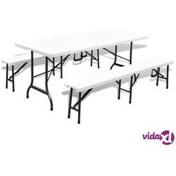 składany stół ogrodowy z 2 ławkami, 180 cm, stal i hdpe, biały marki Vidaxl