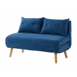 Vente-unique Rozkładana 2-osobowa sofa z tkaniny valerio - kolor niebieski