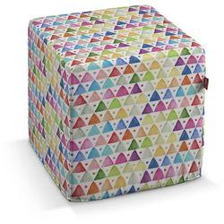 Dekoria Pufa kostka twarda, kolorowe trójkąty na białym tle, 40x40x40 cm, New Art, kolor biały