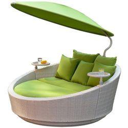 łóżko ogrodowe z parasolem słonecznym shell - szare marki Igotherm
