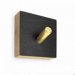 Wieszak ścienny Nori kwadratowy czarny dębowy z mosiężnym, NrC10b