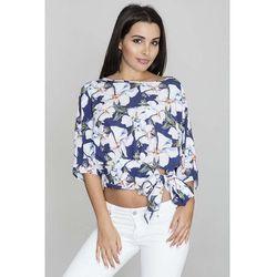 Figl Kwiatowa krótka bluzka z wiązaną kokardą