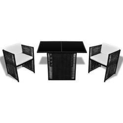 Vidaxl  stolik i fotele ogrodowe rattan pe, czarny, 7 elementów