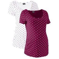 Shirt ciążowy z krótkim rękawem (2 szt.), bawełna organiczna bonprix jeżynowo-biały w groszki, kup u je