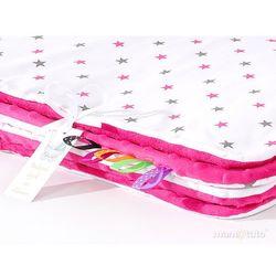 Mamo-tato komplet kocyk minky do wózka + poduszka gwiazdki szare i różowe / fuksja