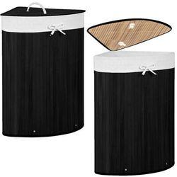 Springos Kosz na pranie 73l narożny pojemnik z klapą bambus naturalny czarny (5907719420493)