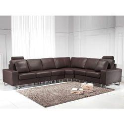 Stylowa sofa kanapa z brązowej skóry naturalnej narożnik STOCKHOLM z kategorii Narożniki
