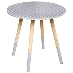 Drewniany stolik kawowy MILEO okazjonalny stolik ze wzorem - kolor szary, Ø 48 cm