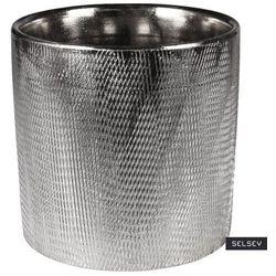 Selsey osłonka na doniczkę stelly ceramiczna 13,5 cm srebrna