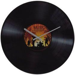 Zegar ścienny szklany Gramofon, żółty