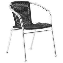 Krzesło kawiarniane z czarnego rattanu stelaż aluminium, towar z kategorii: Krzesła ogrodowe