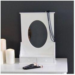 Toaletka, dwie szufladki,owalne lustro,satynowa biel.