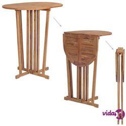 vidaXL Składany stolik barowy z drewna tekowego, 100x65x105 cm