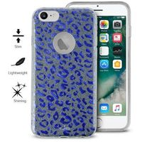 PURO Glitter Shine Leopard Cover - Etui iPhone 7 / iPhone 6s / iPhone 6 (Blue) Limited edition