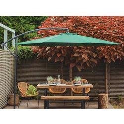 Parasol ogrodowy na wysięgniku - stojak metalowy - zielony marki Beliani