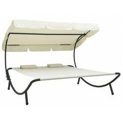 Kremowy leżak ogrodowy z baldachimem - Pafos 3X, vidaxl_48068