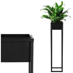 Stojak na kwiaty 100 cm z doniczką nowoczesny kwietnik loft czarny mat