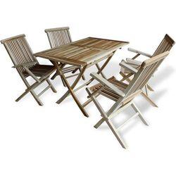 vidaXL Zestaw jadalny ogrodowy z drewna tekowego zestaw 5 elementów z kategorii Zestawy ogrodowe